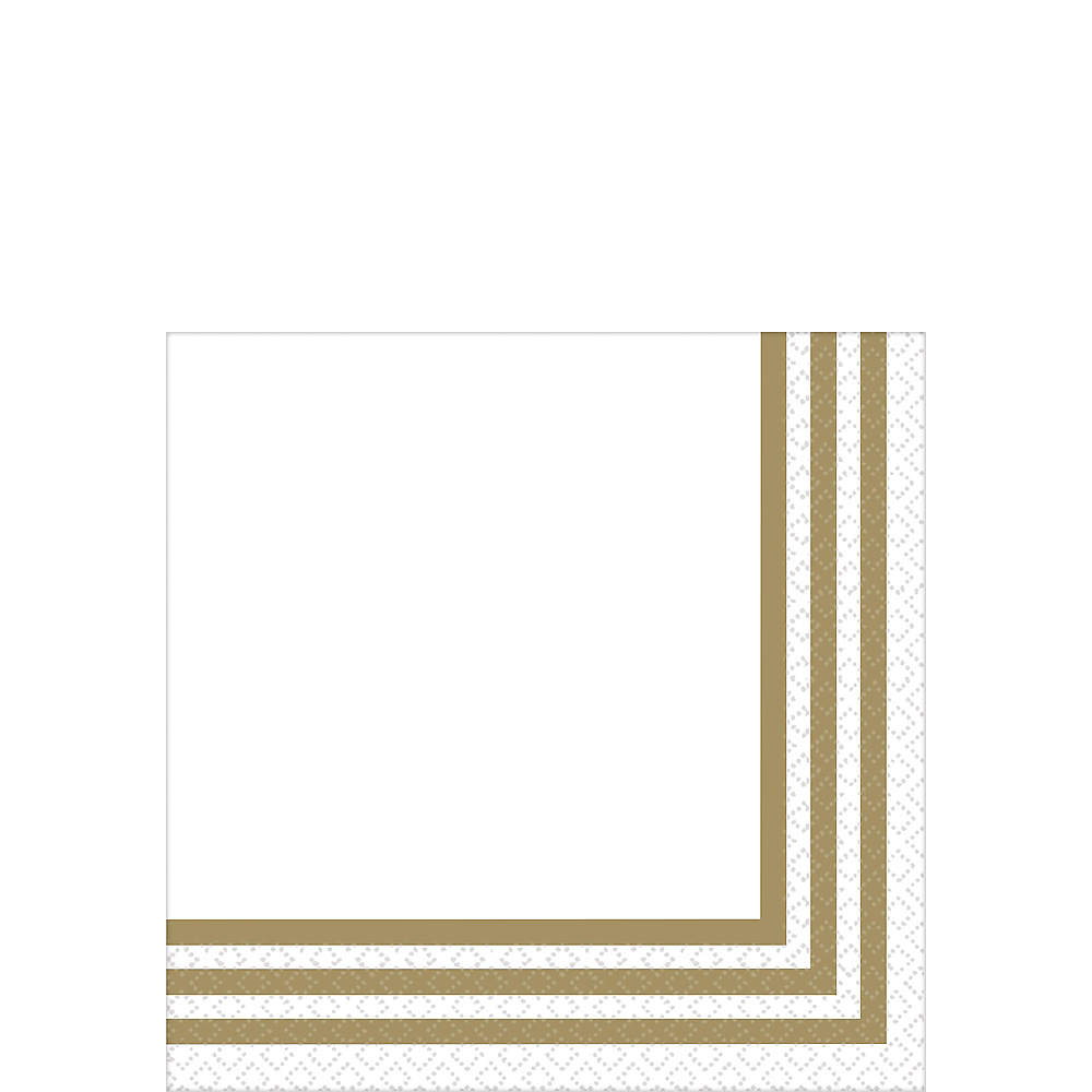 Gold Striped Premium Beverage Napkins 16ct Image #1