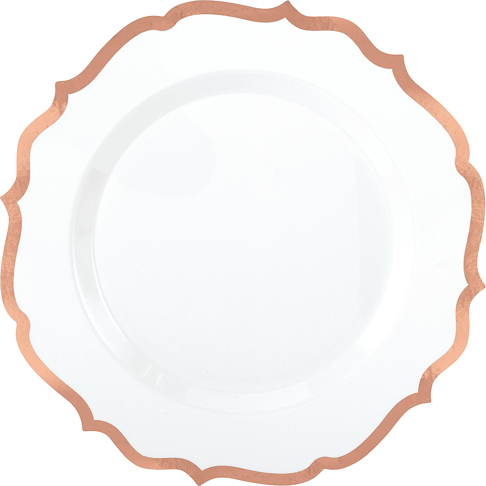 White Rose Gold-Trimmed Ornate Premium Plastic Dinner Plates 10ct Image #1