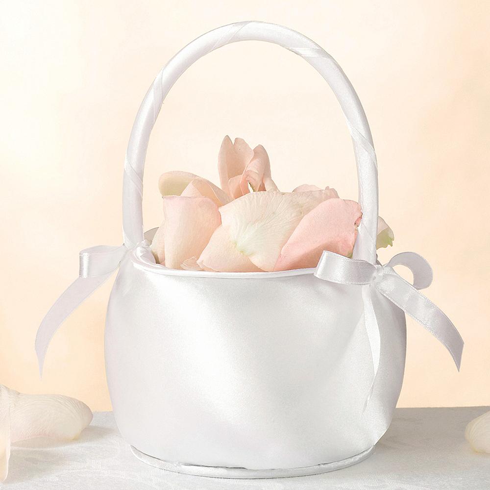 Off White Flower Girl Basket Image #1
