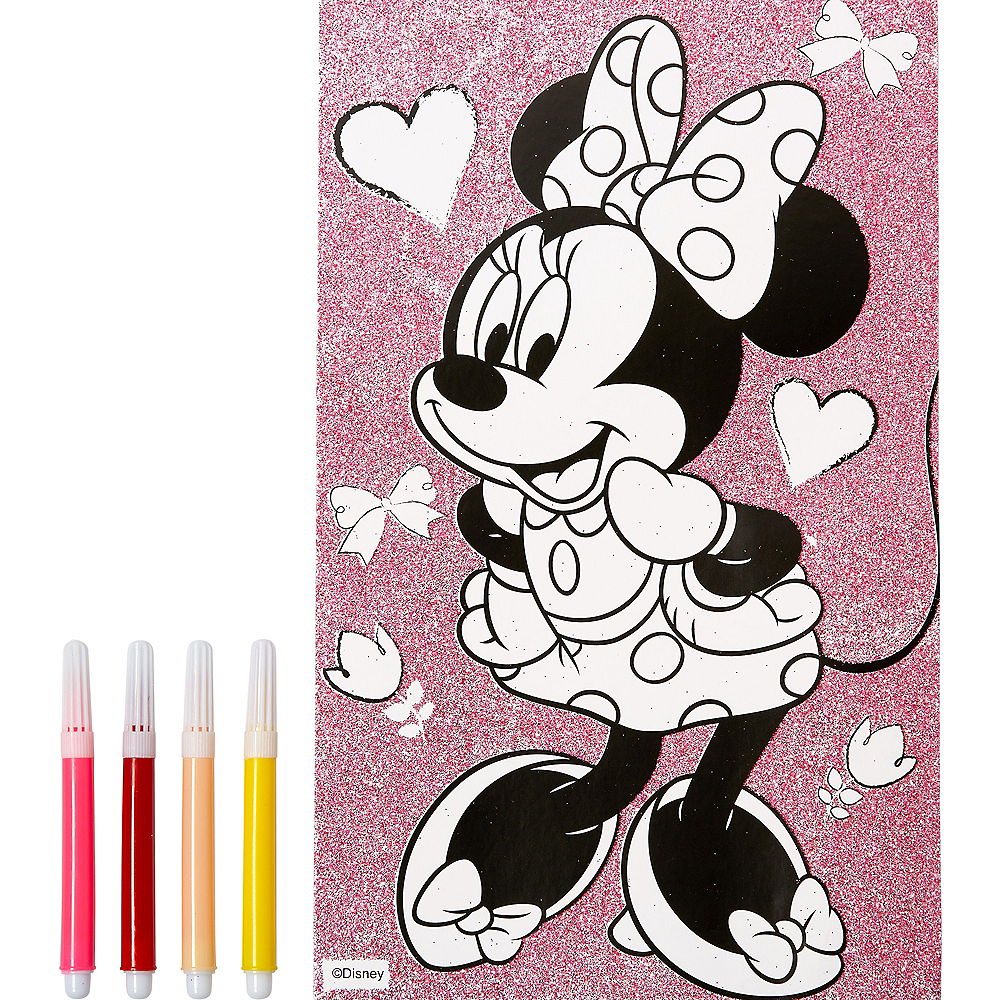 Glitter Minnie Mouse Coloring Poster with Markers Image #1