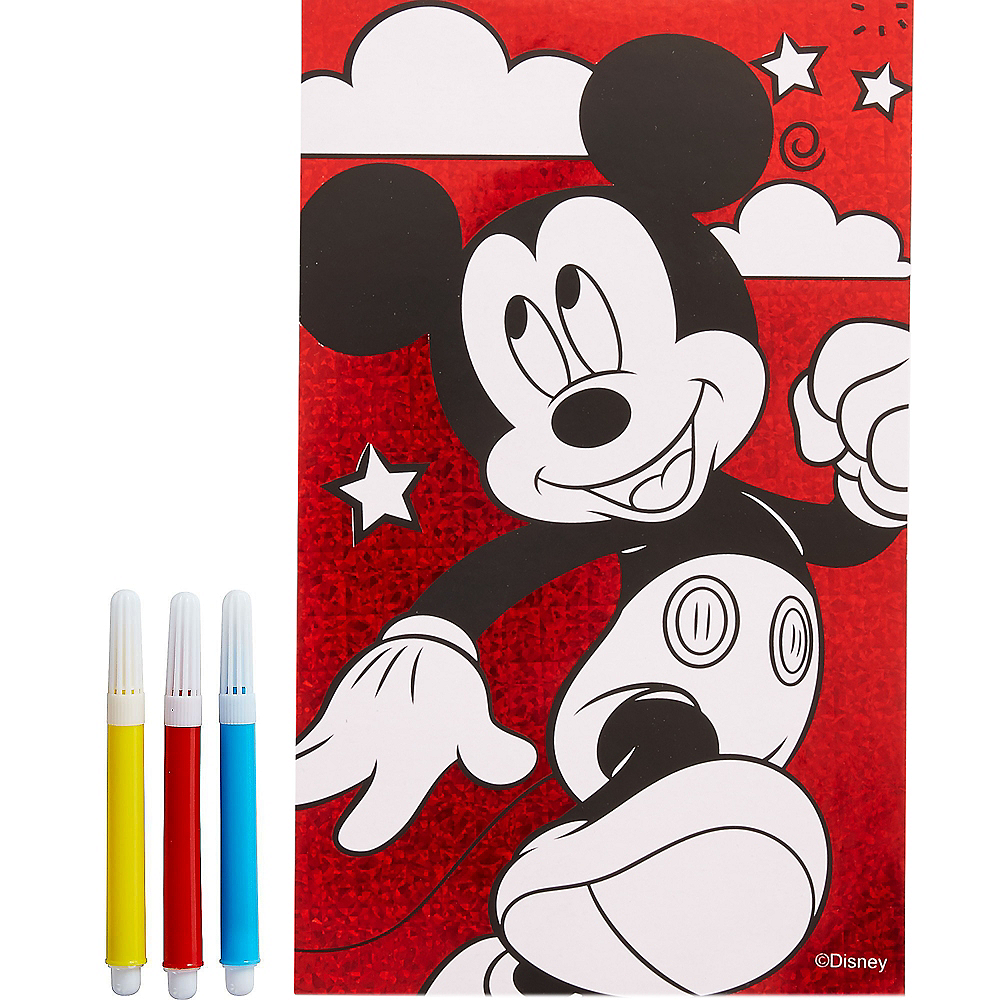 Prismatic Mickey Mouse Coloring Posters with Markers 2ct Image #1
