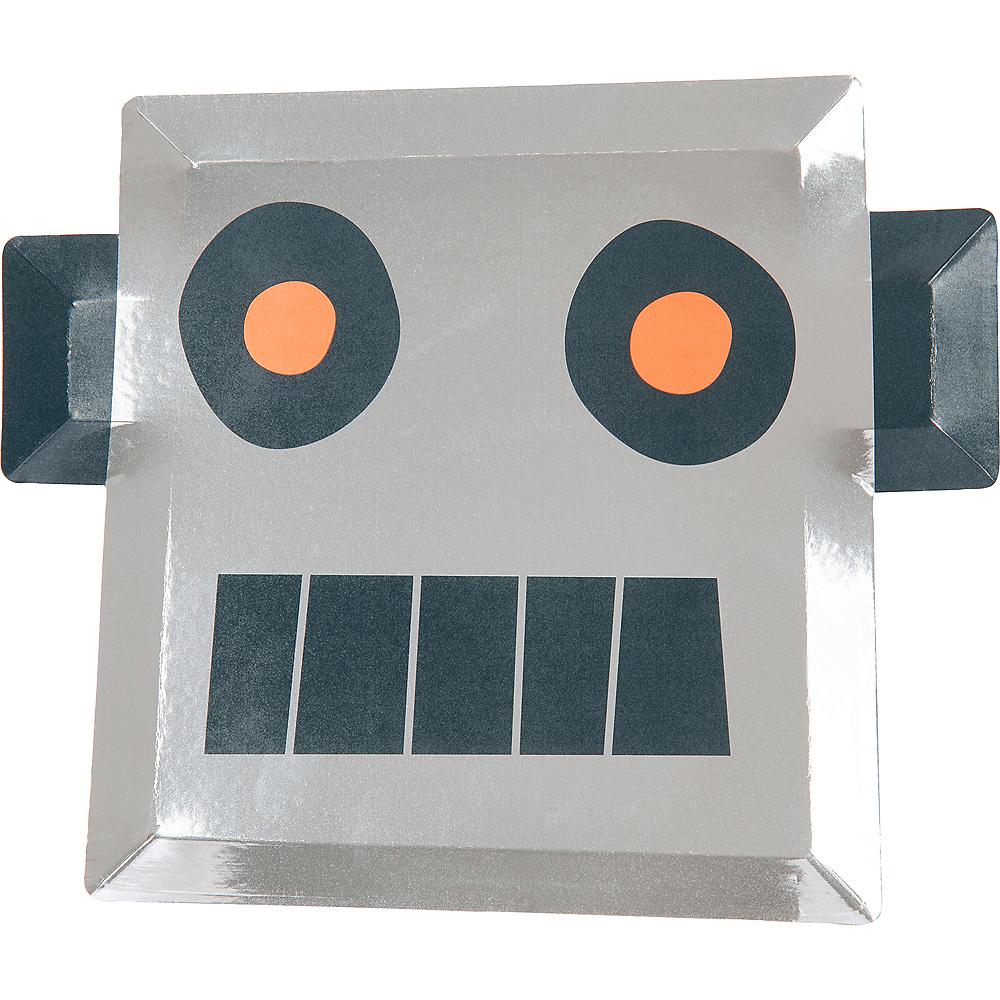Metallic Shaped Robot Lunch Plates 8ct Image #1