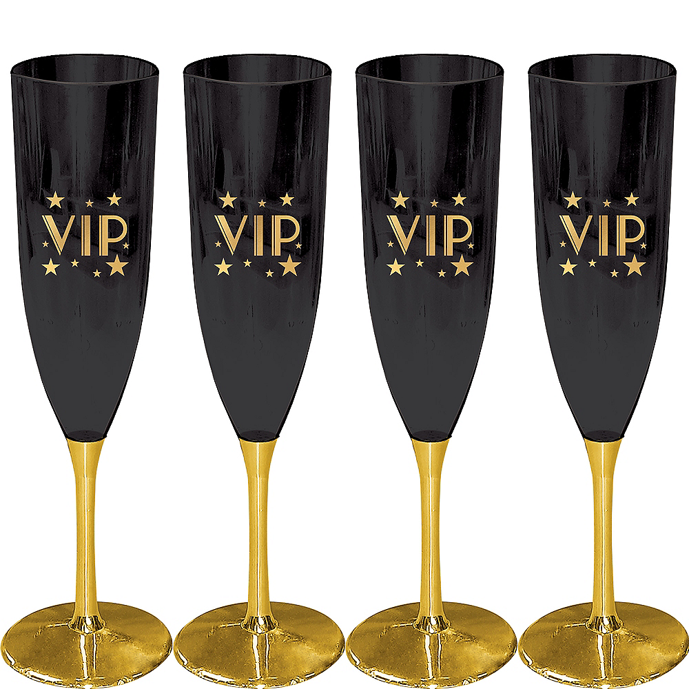 Metallic Gold VIP Champagne Flutes 4ct Image #1