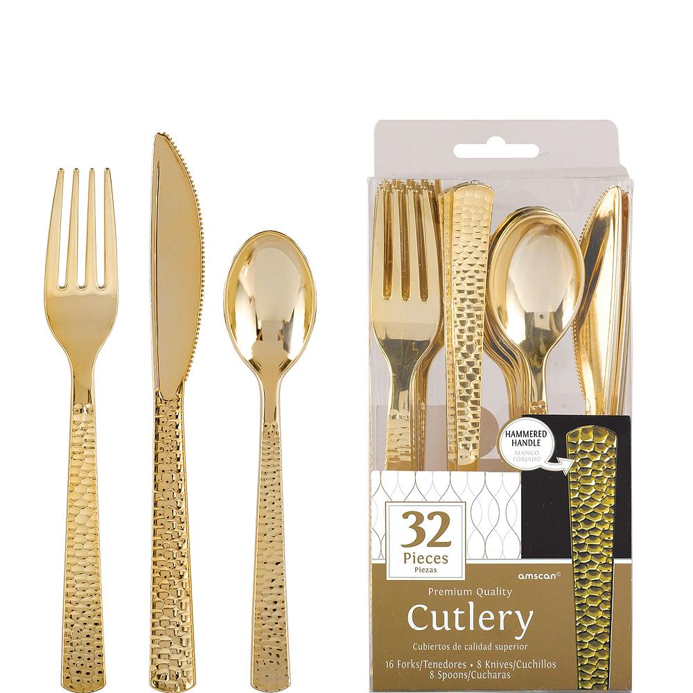 Gold Premium Plastic Hammered Cutlery Set 32ct Image #1