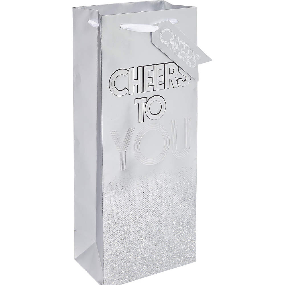 Metallic Silver Paper Cheers Bottle Bag Image #1