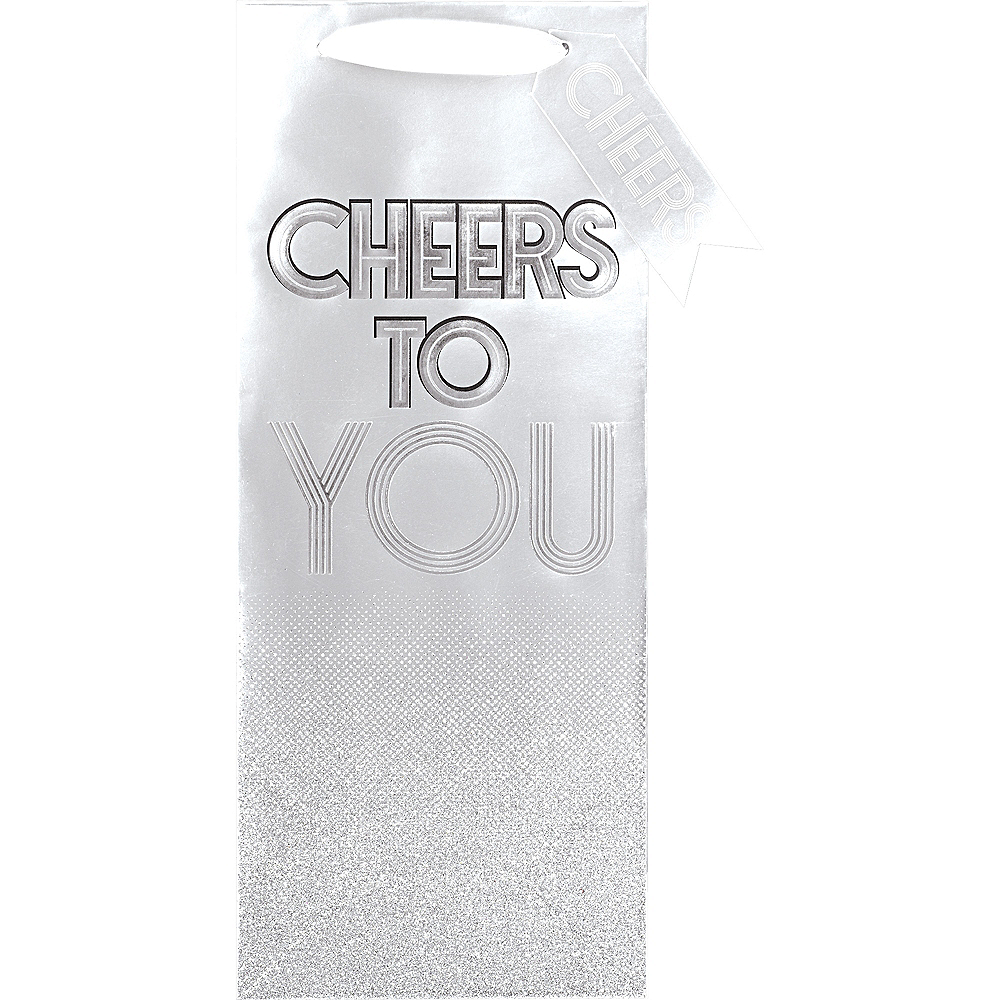 Metallic Silver Paper Cheers Bottle Bag Image #2