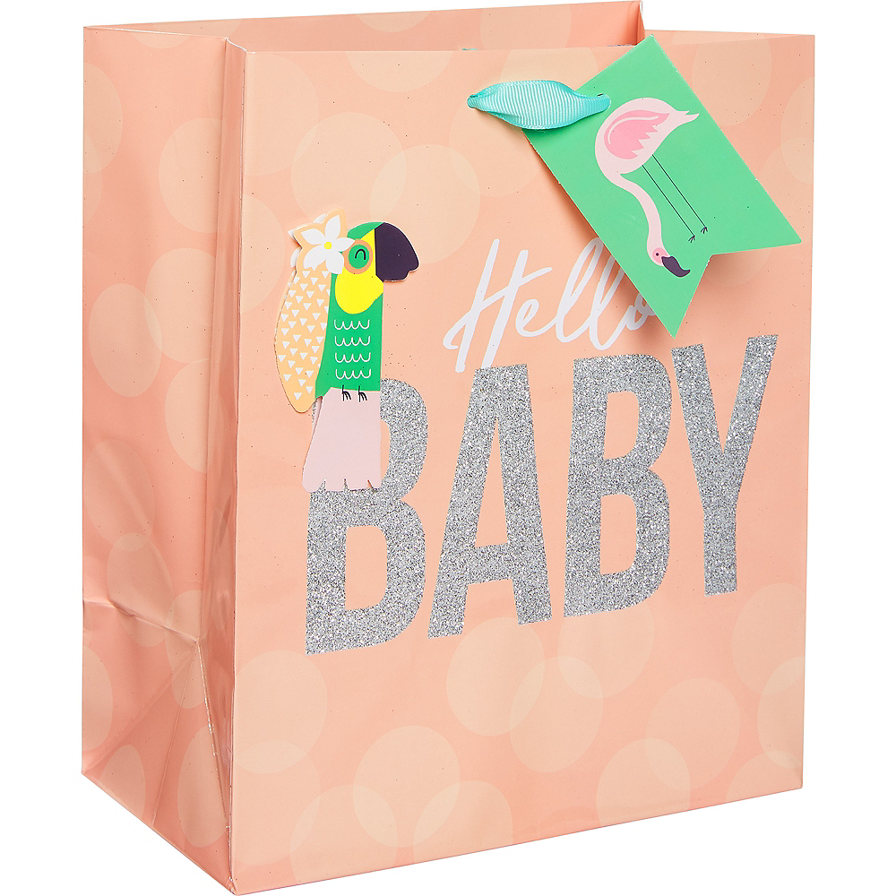 Small Glossy Tropical Hello Baby Gift Bag Image #1