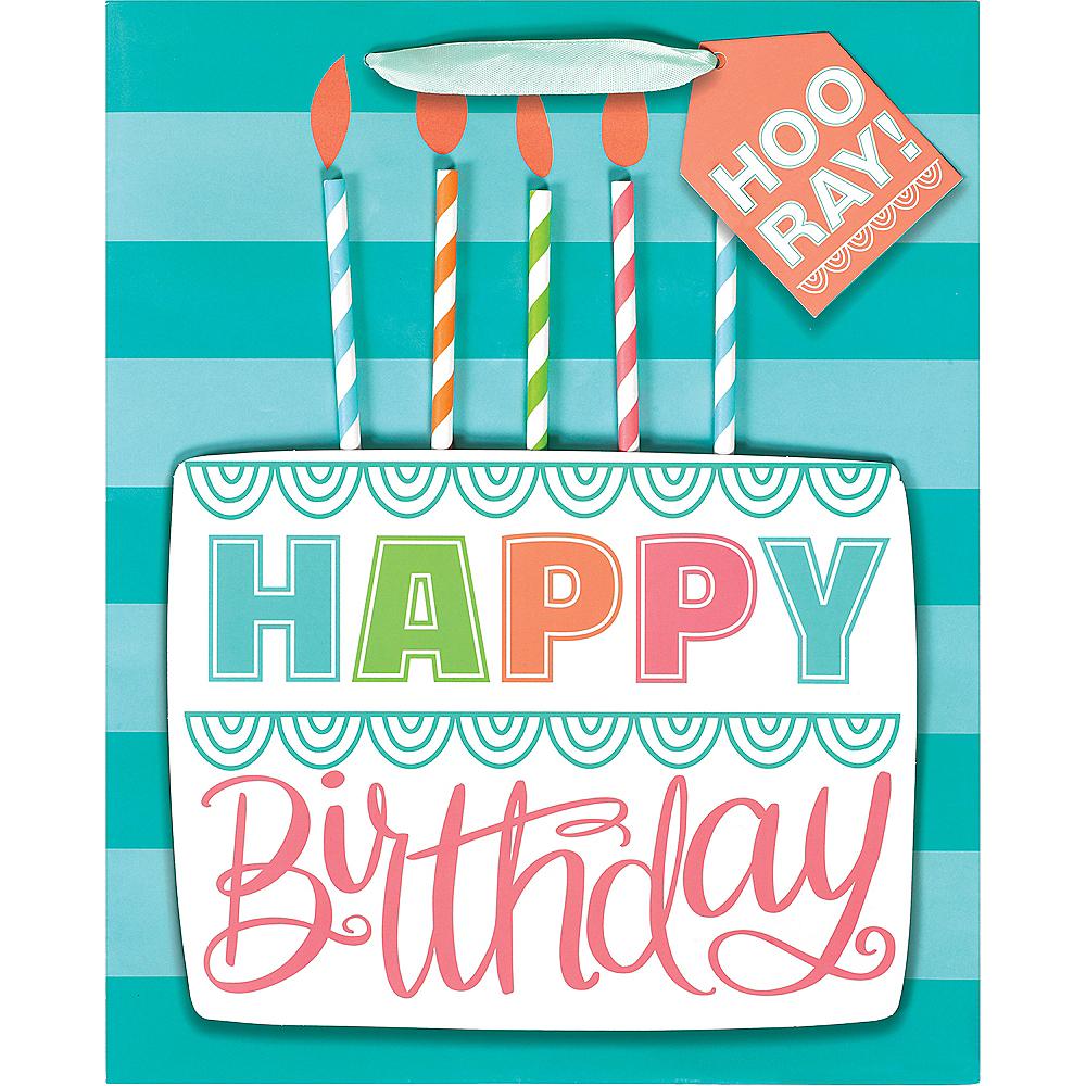 Medium Glossy 3D Birthday Cake Gift Bag Image #2