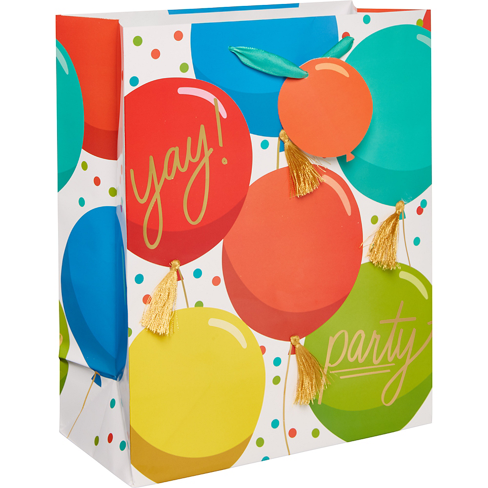Medium Glossy Colorful Balloons Gift Bag Image #1