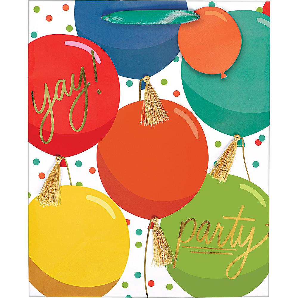 Medium Glossy Colorful Balloons Gift Bag Image #2