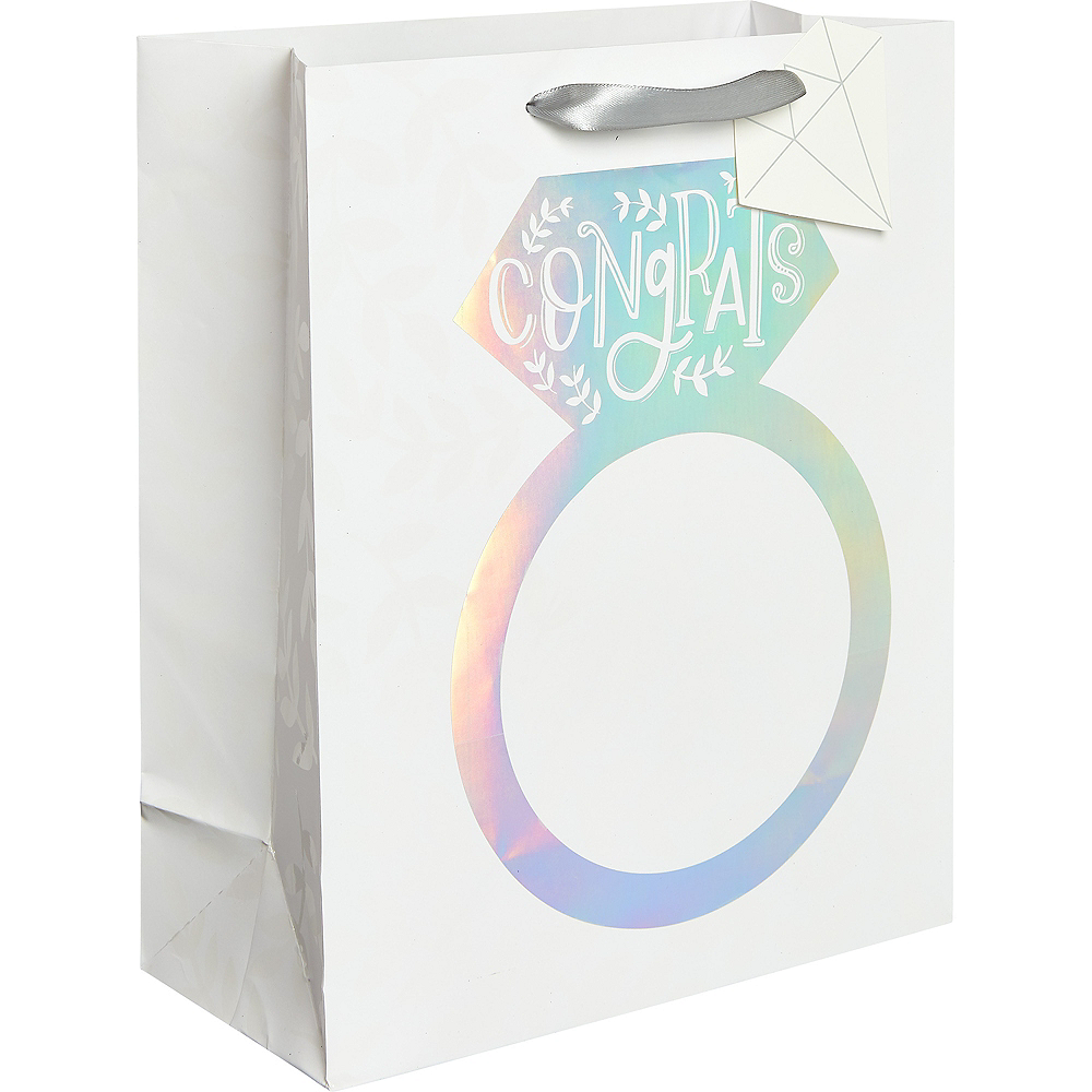 Medium Paper Iridescent Engagement Ring Gift Bag Image #1