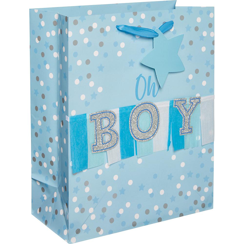 Medium Glossy Blue Oh Boy Gift Bag Image #1