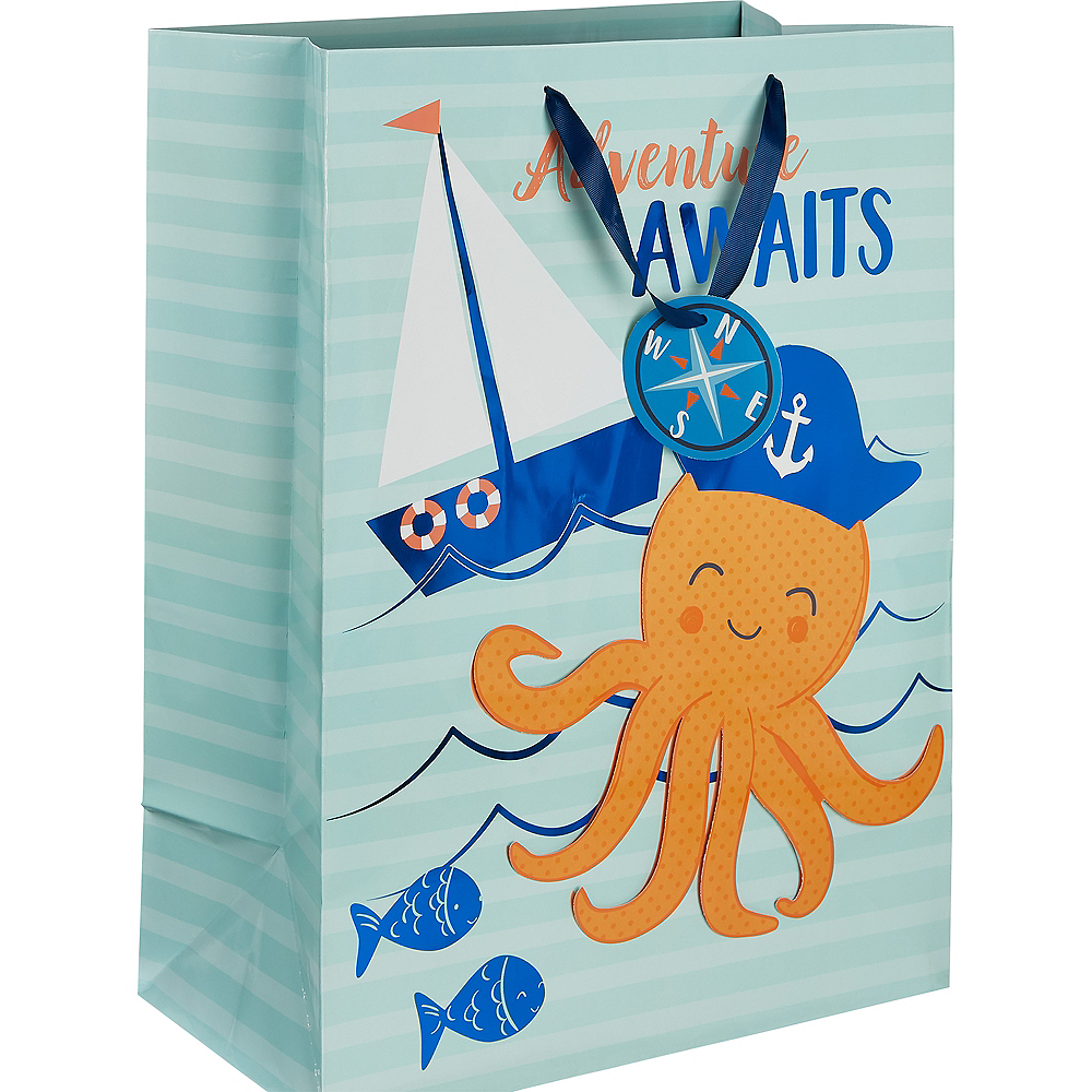 Large Glossy Nautical Adventure Awaits Gift Bag Image #1