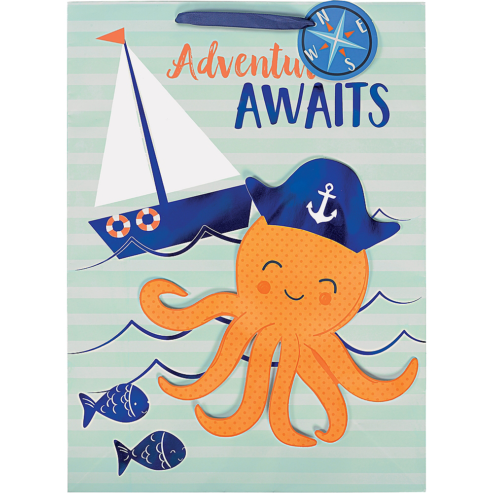 Large Glossy Nautical Adventure Awaits Gift Bag Image #2