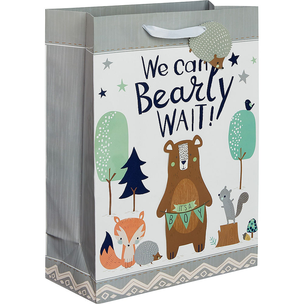 Large Glossy 3D Can Bearly Wait Gift Bag Image #1