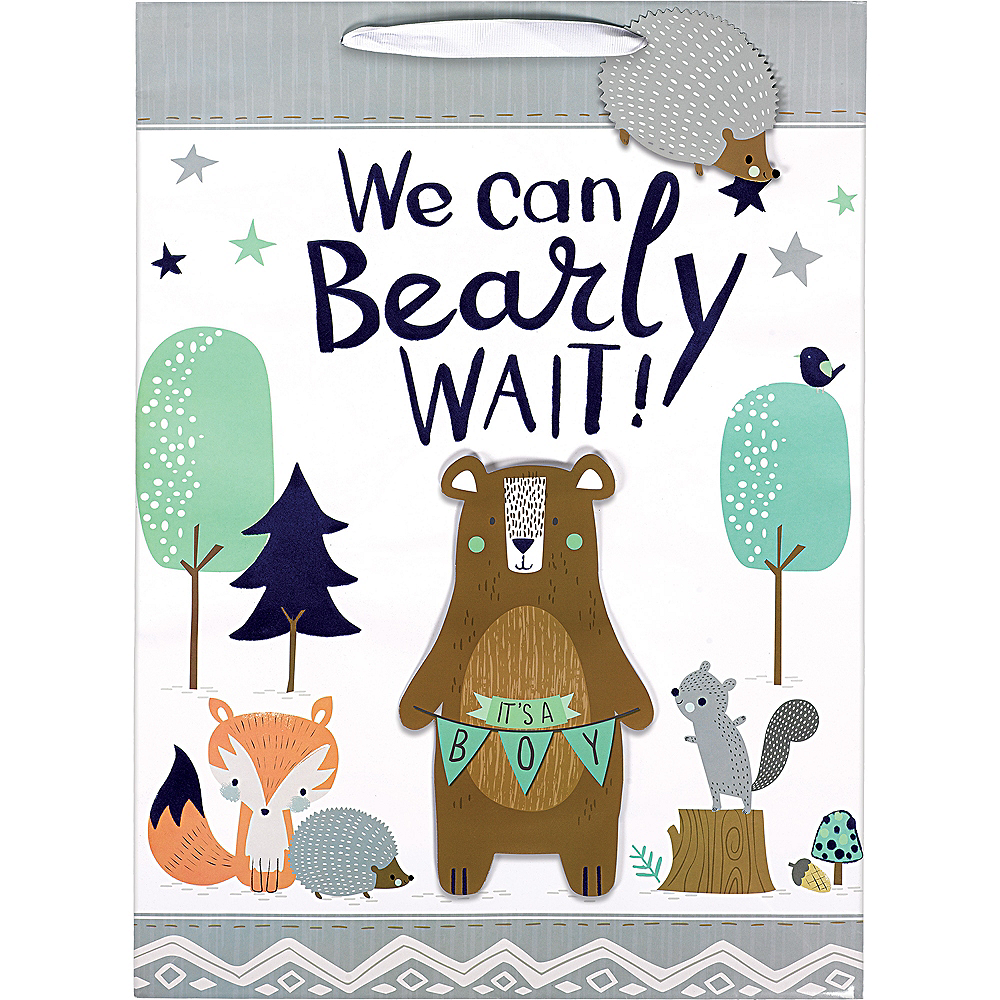 Large Glossy 3D Can Bearly Wait Gift Bag Image #2