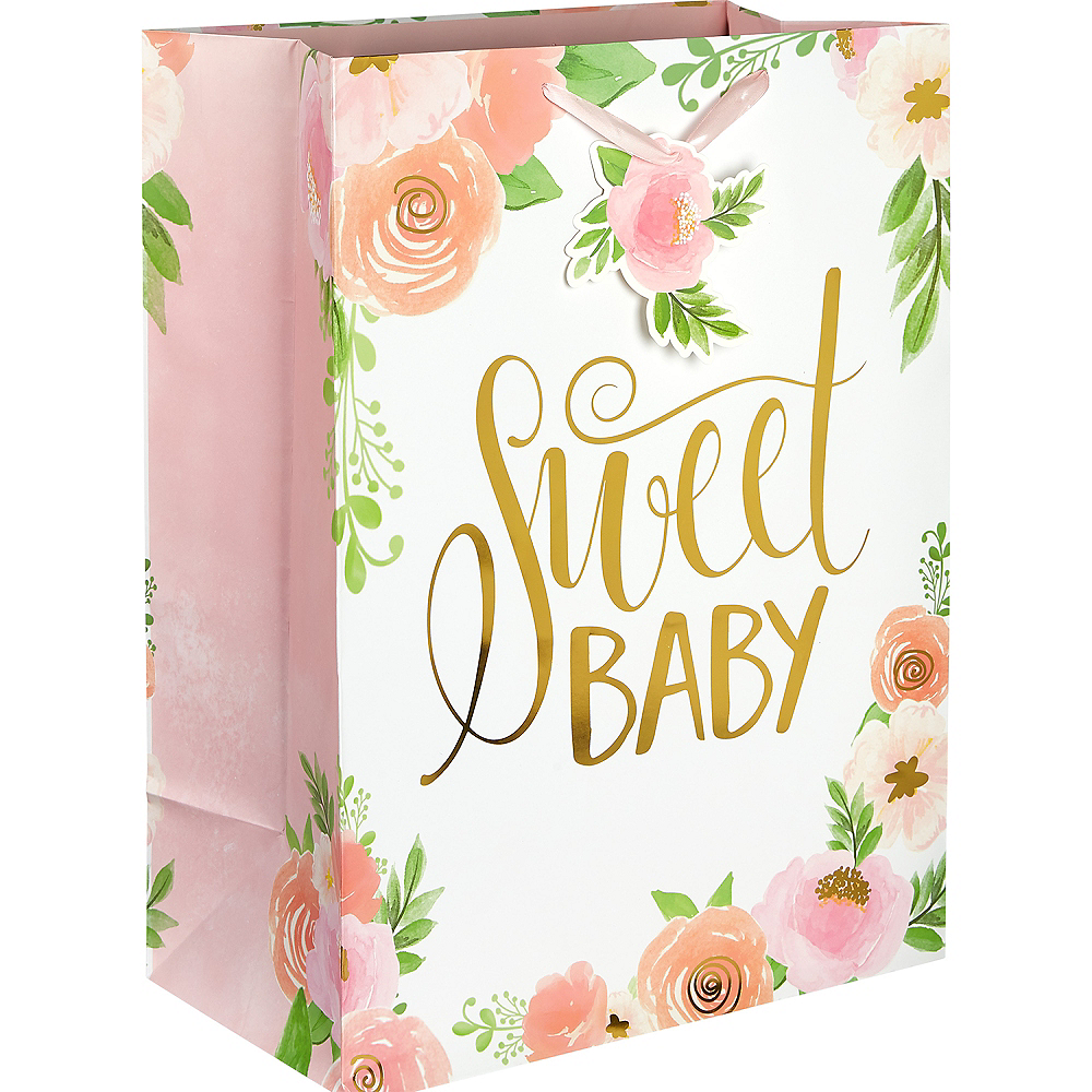 Large Glossy Floral Baby Gift Bag Image #1