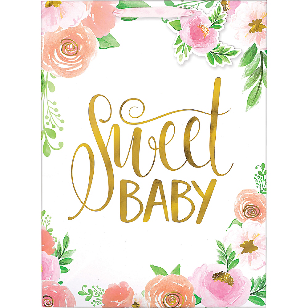 Large Glossy Floral Baby Gift Bag Image #2