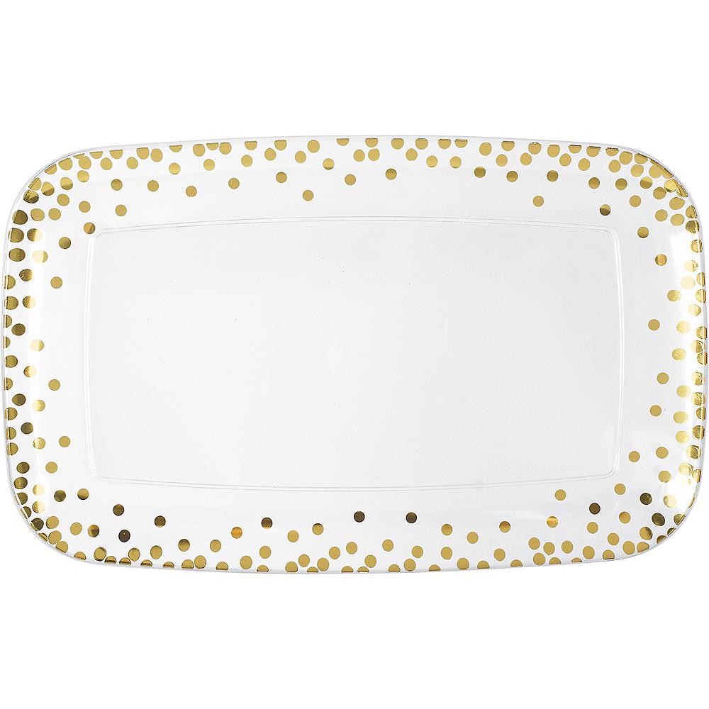 Metallic Gold Polka Dots Plastic Rectangular Platter Image #1