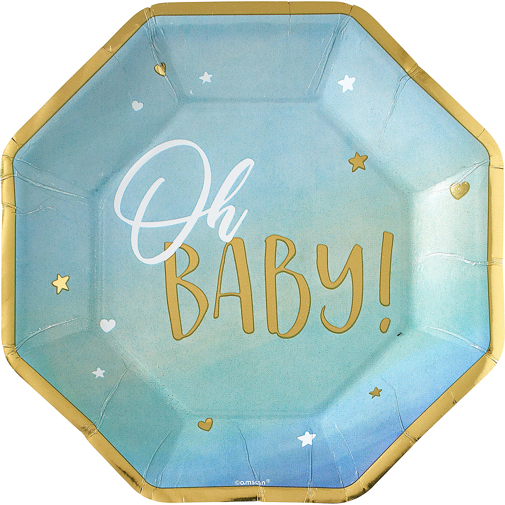 Blue & Metallic Gold Oh Baby Dinner Plates 8ct Image #1