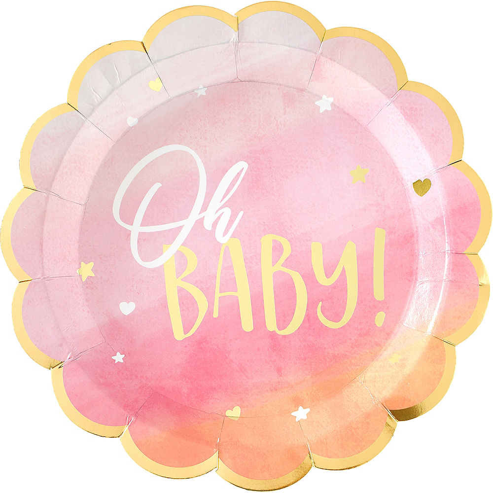 Metallic Gold & Pink Oh Baby Dinner Plates 8ct Image #1