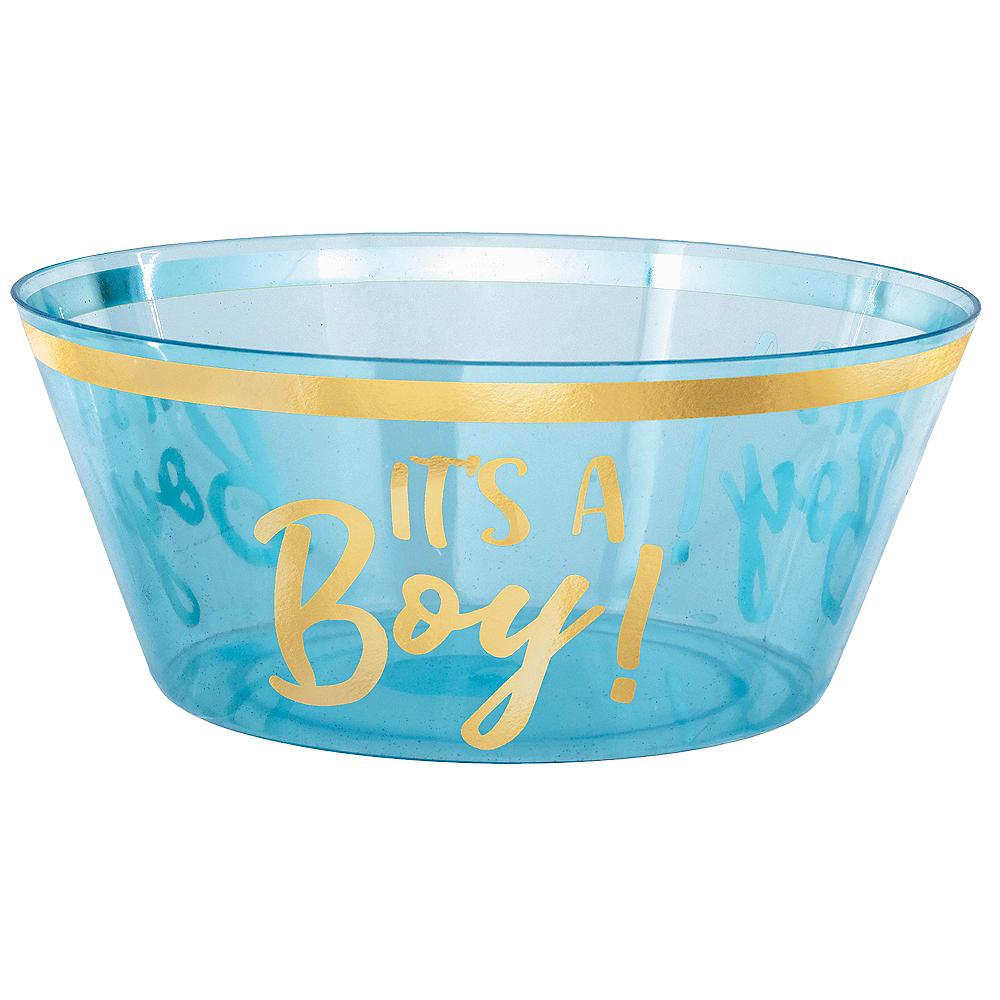 Blue & Metallic Gold It's a Boy Plastic Serving Bowl Image #1