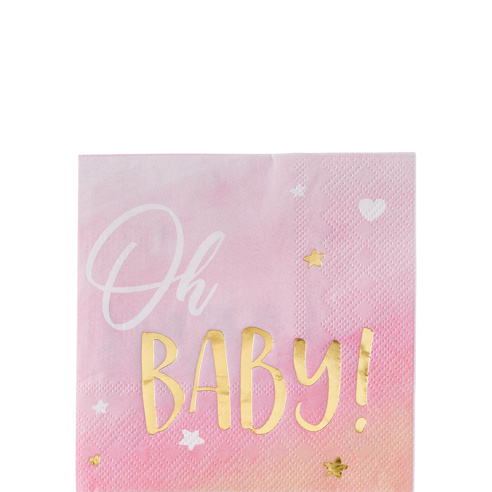 Metallic Gold & Pink Oh Baby Beverage Napkins 16ct Image #1