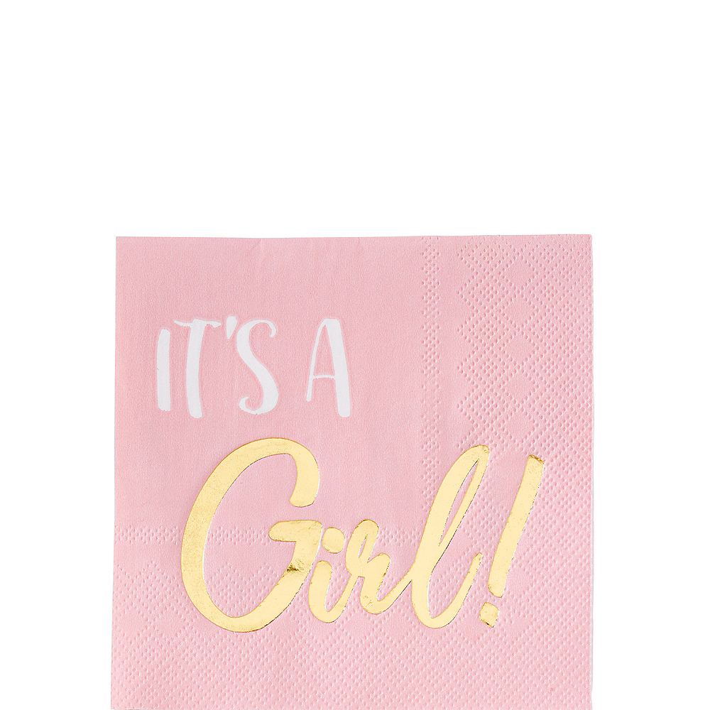 Metallic Gold & Pink It's a Girl Beverage Napkins 16ct Image #1