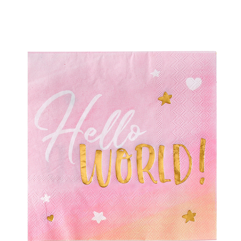 Metallic Gold & Pink Hello World Lunch Napkins 16ct Image #1
