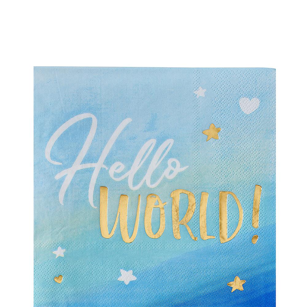 Metallic Gold & Blue Hello World Lunch Napkins 16ct Image #1