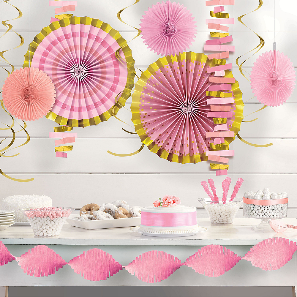 Metallic Gold & Pink Room Decorating Kit Image #1