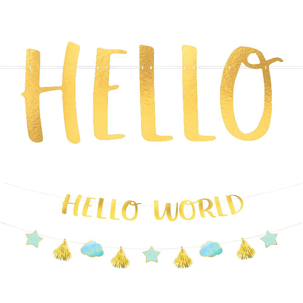 Blue & Metallic Gold Hello World Baby Banner Kit Image #1