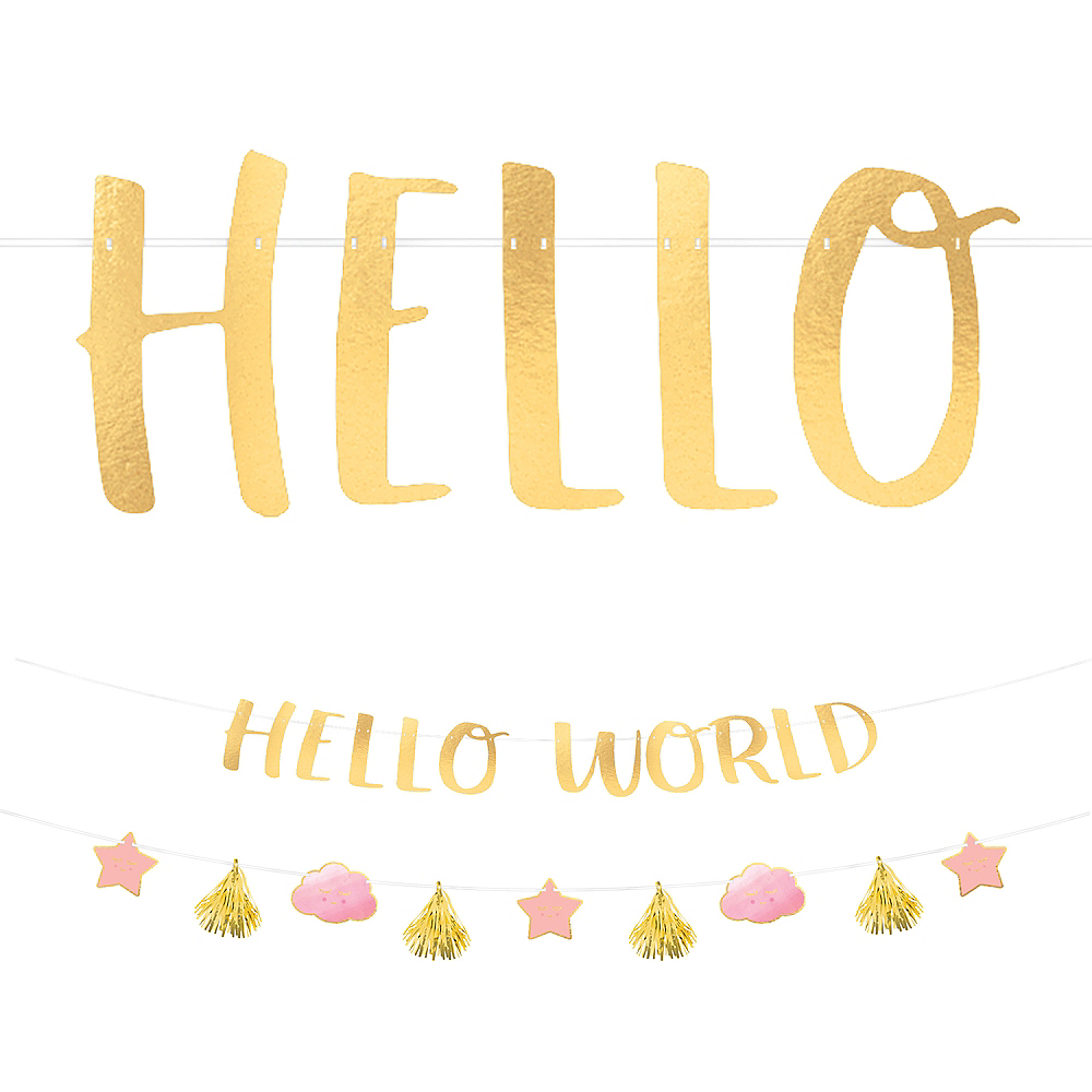 Metallic Gold & Pink Hello World Baby Banner Kit Image #1