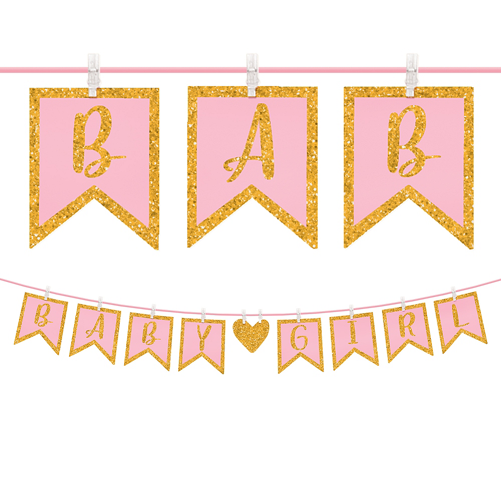 Nav Item for Glitter Baby Girl Clothespin Banner Image #1