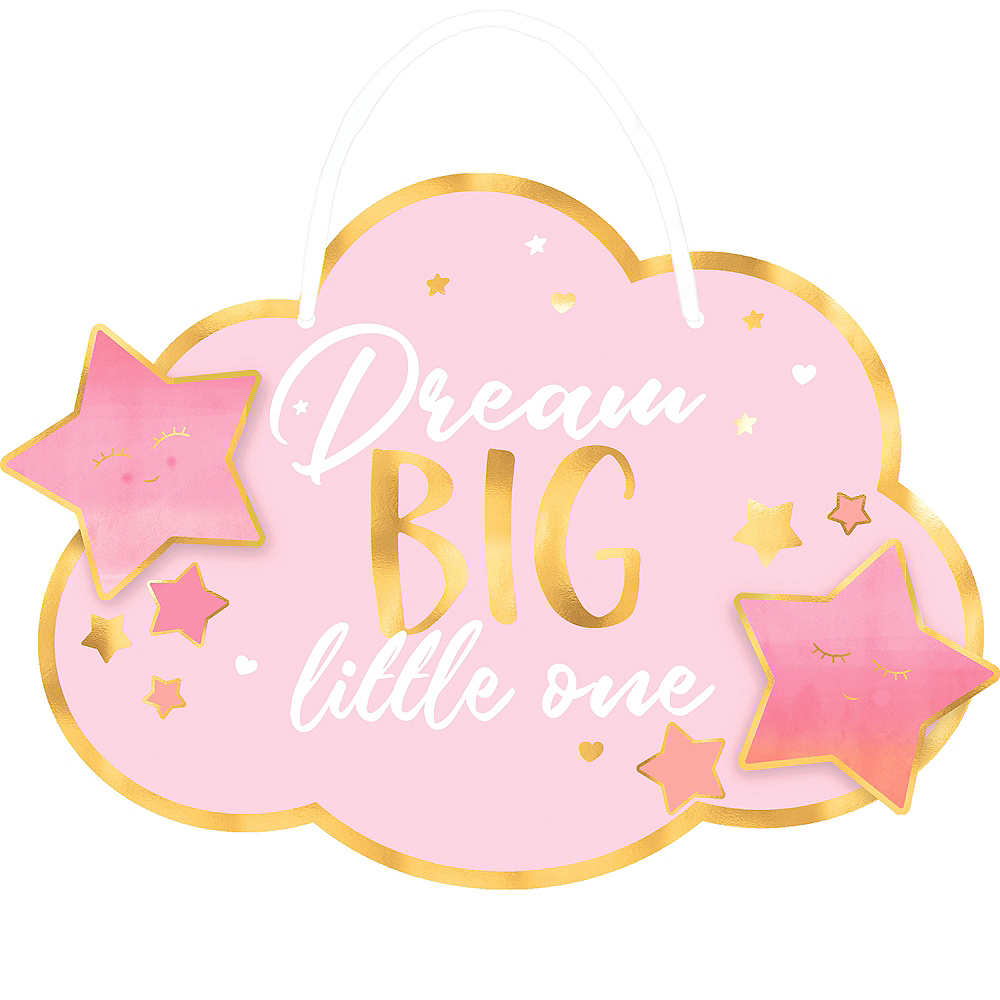 Metallic Gold and Pink Dream Big Little One Sign Image #1