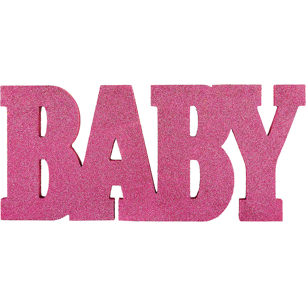 Glitter Pink Baby Stand Sign Image #1