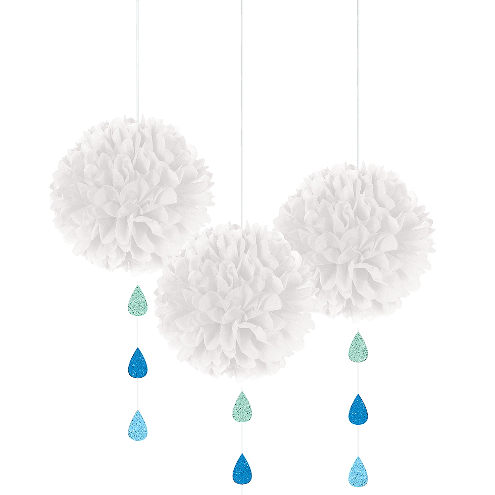 Nav Item for White Cloud Tissue Pom-Poms with Glitter Raindrops 3ct Image #1