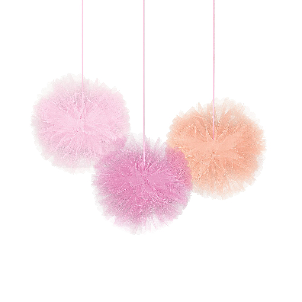 Pink Tulle Tissue Pom-Poms 3ct Image #1