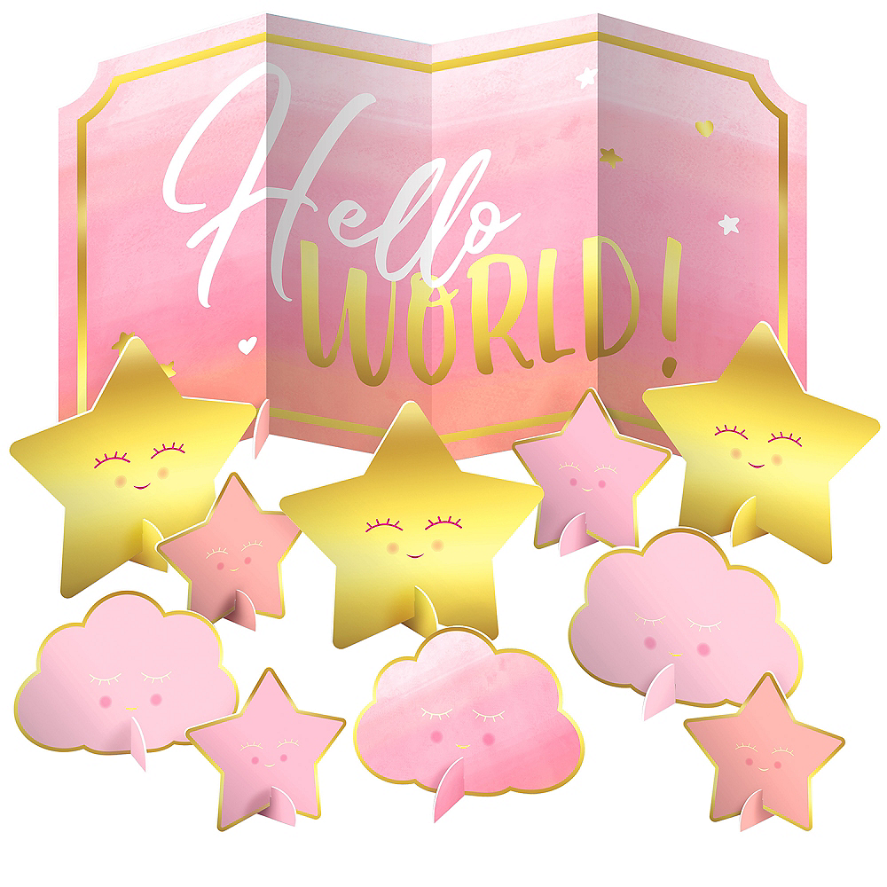 Pink Hello World Table Decorating Kit 11pc