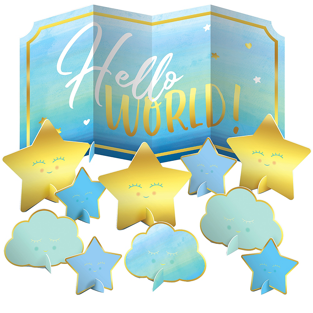 Blue Hello World Table Decorating Kit 11pc Image #1