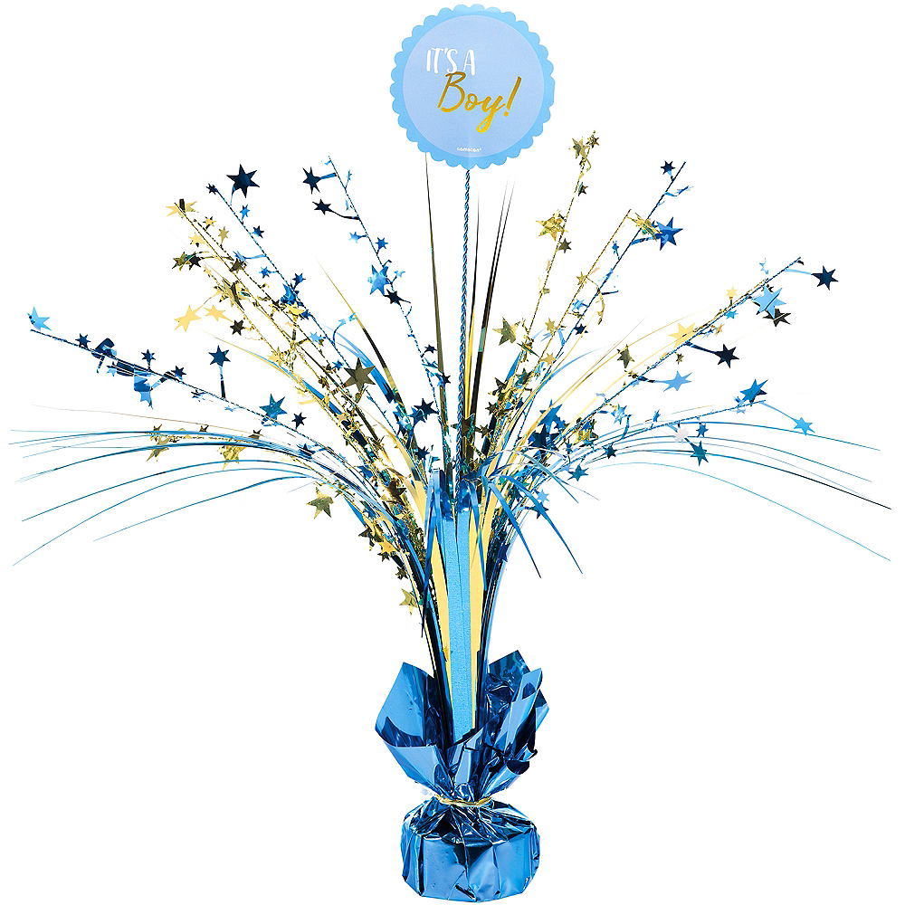 Blue and Metallic Gold It's a Boy Spray Centerpiece Image #1