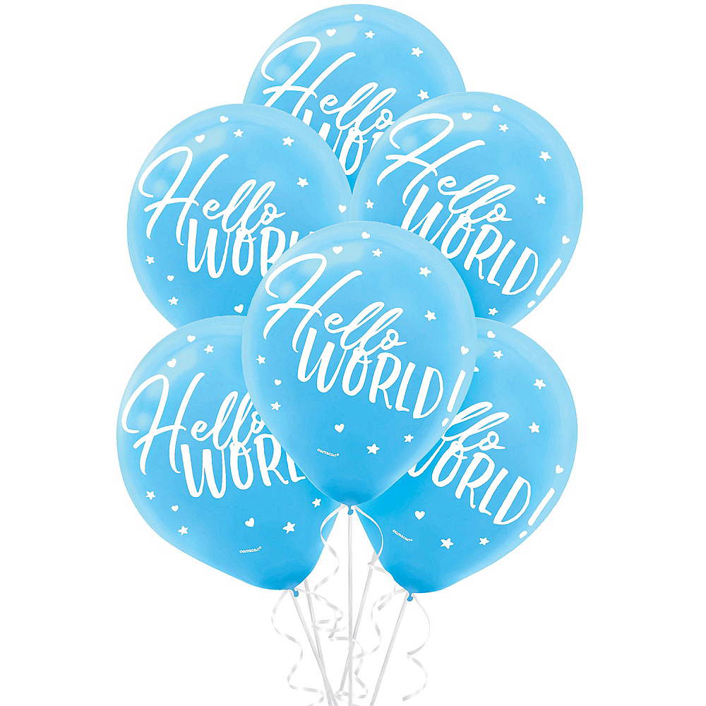 Blue Hello World Balloons 15ct Image #1