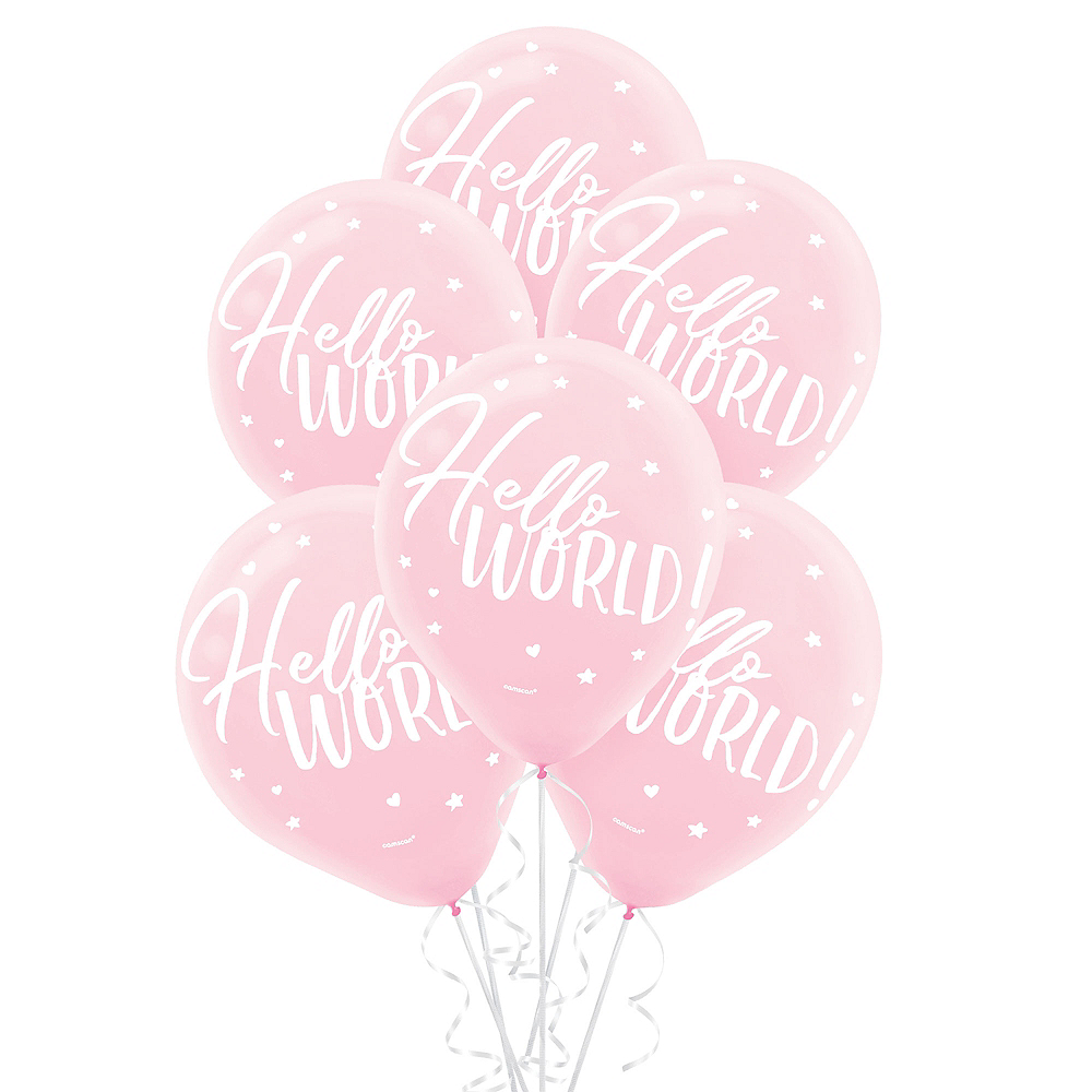 Pink Hello World Balloons 15ct Image #1