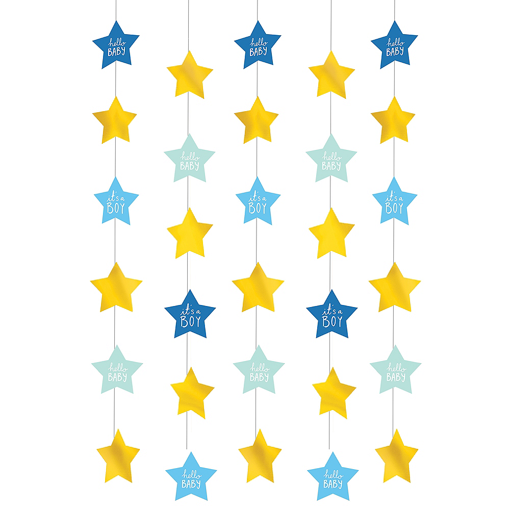 Blue & Metallic Gold It's a Boy String Decorations 6ct Image #1