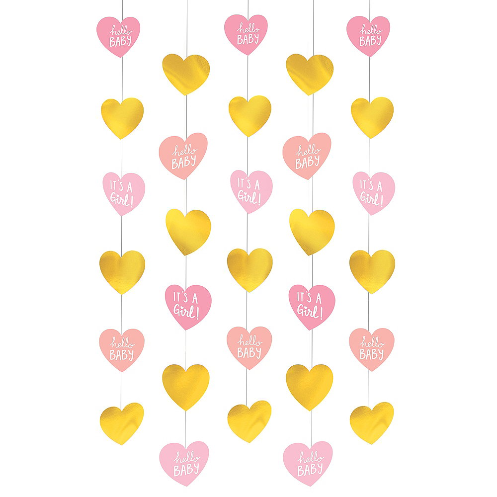 Metallic Gold & Pink It's a Girl String Decorations 6ct Image #1