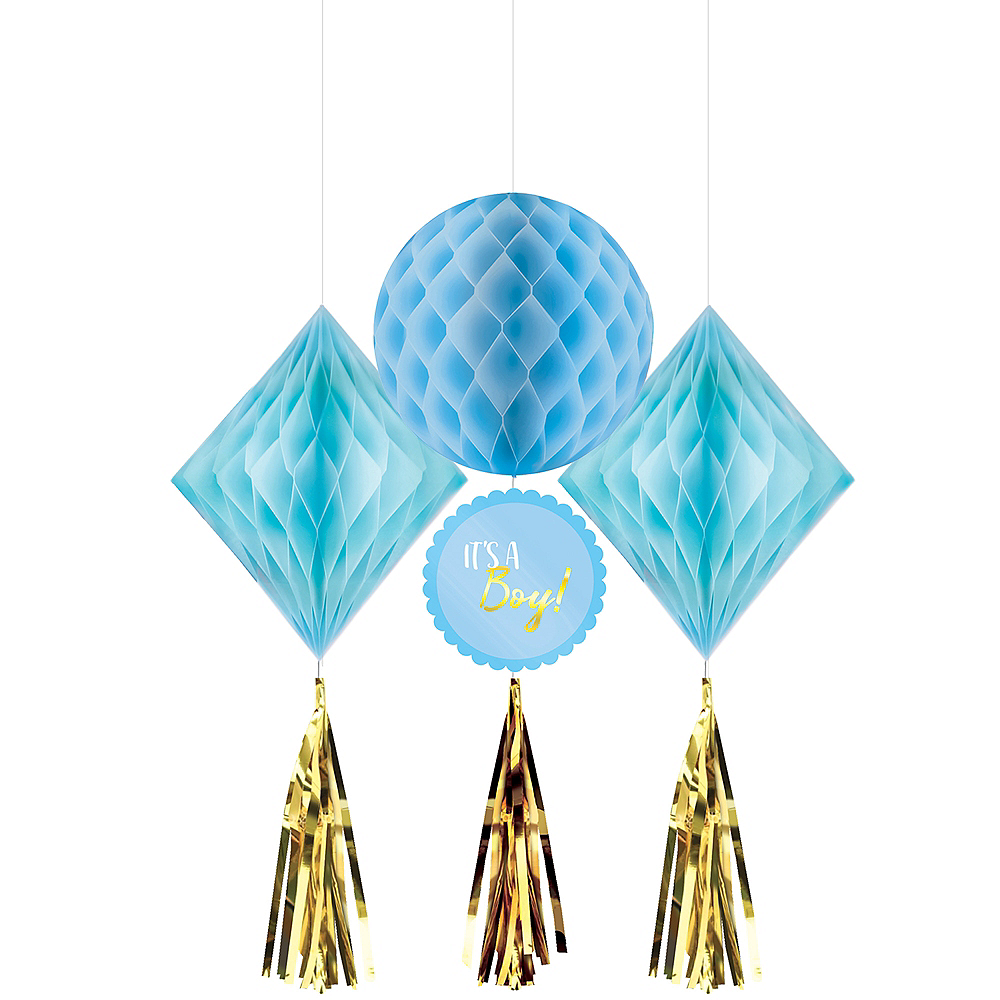 Blue and Metallic Gold It's a Boy Honeycomb Decorations 3ct Image #1