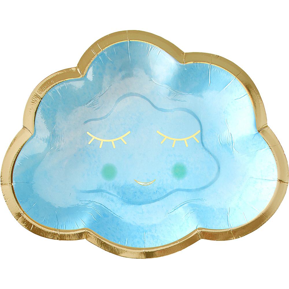 Blue & Metallic Gold Happy Cloud Plates 8ct Image #1