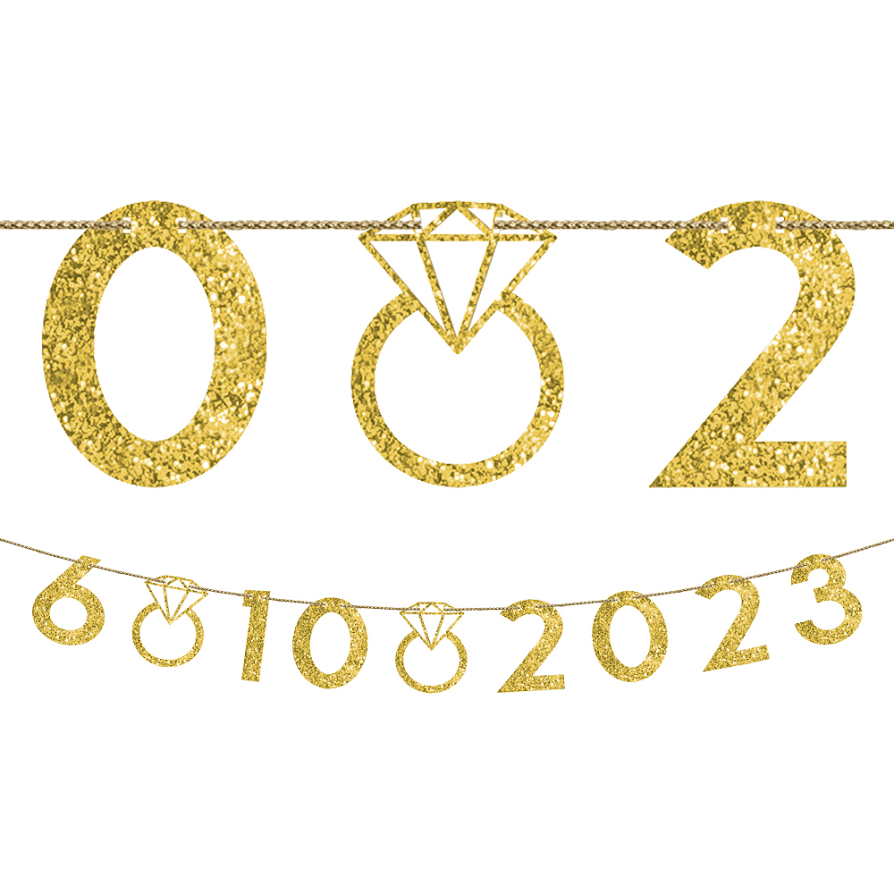 Customizable Glitter Gold Wedding Number Banner Kit 42pc Image #1