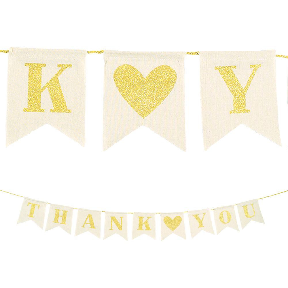 Glitter Gold Thank You Canvas Pennant Banner Image #1