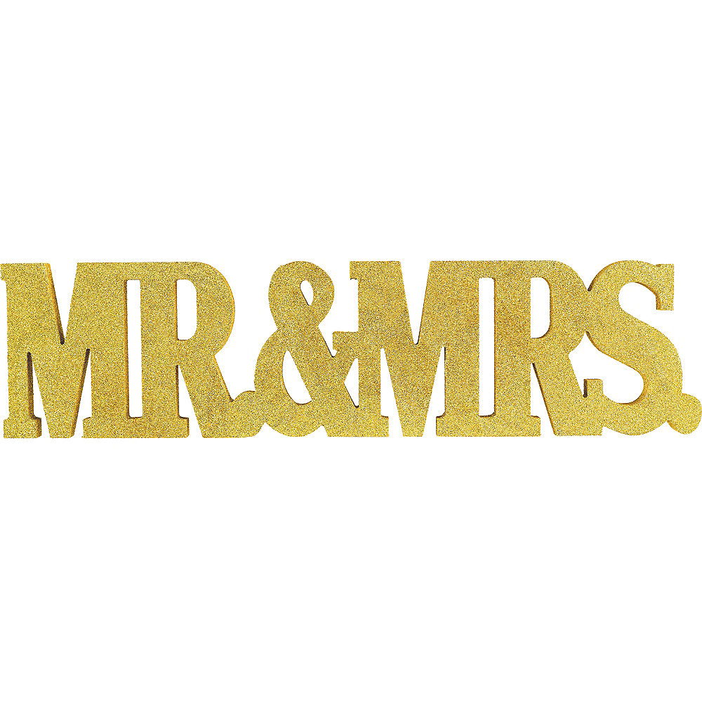 Glitter Gold Mr. & Mrs. Block Letter Sign Image #1